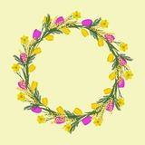 Floral round frame from spring flowers. Yellow and pink flowers of tulips, daffodils and mimosa on a beige background. Greeting card template. It can be used vector illustration