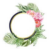 Floral round frame with tropical green foliage and pink flowers, isolated on white background. Golden floral banner for cards royalty free illustration