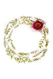 Floral round frame on white background. Flat lay, top view. Stock Photography