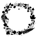 Floral round frame wreath of flowers, natural design. Floral round frame wreath of flowers, natural design with leaves and flowers elements. Spring summer Stock Photo