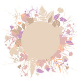 Floral round frame wreath of flowers, natural design leaves flowers elements. Spring summer design for invitation, wedding or gree. Ting cards. Lavender pink Stock Photography