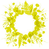 Floral round frame wreath of flowers, natural design leaves flowers elements.. Floral round frame wreath of flowers, natural design leaves flowers elements Stock Images