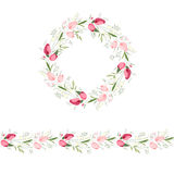 Floral round garland and endless pattern brush made of red and pink tulips. Stock Photo