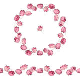 Floral round garland and endless pattern brush made of red and pink tulips. Royalty Free Stock Photos