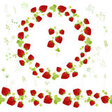 Floral round garland and endless pattern brush made of ripe strawberries. Stock Images