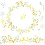 Floral round garland and endless pattern brush made of yellow mimosa. Royalty Free Stock Photo