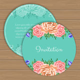 Floral round invitation template Stock Image