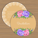 Floral round invitation template Stock Photos