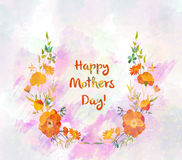 Floral round wreath for mothers day with cute naive flower and leaves. Watercolour painted drawing Royalty Free Stock Photos