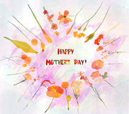 Floral round wreath for mothers day with cute naive flower and leaves. Watercolour painted Stock Photo