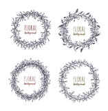 Floral round wreaths set. Hand drawn frames, collection. Monochrome vector illustration. Royalty Free Stock Image