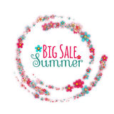 Floral rounded banner with Big Summer Sale label Royalty Free Stock Image