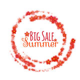 Floral rounded banner with Big Summer Sale label Royalty Free Stock Photo