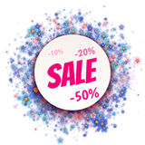 Floral rounded banner with Sale label. Vector Stock Images