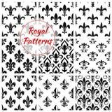 Floral royal fleur-de-lis vector patterns set Stock Photography