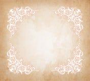 Floral royal wedding corner frame on vintage old paper texture retro background. vector illustration