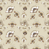 Floral Russian pattern in beige color scheme Royalty Free Stock Images