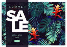 Floral sale design with guzmania flowers, monstera and royal palm leaves. Exotic hawaiian vector background. Stock Photo