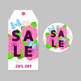 Floral sale tags. Labels with pink flowers, green leaves and Blue butterflies Stock Photos