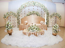 Floral and satin bridal room Stock Photography