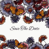 Floral save the date card with daisy flowers and butterflies Royalty Free Stock Photography