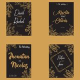 Floral Save Date Gold Vector Design stock illustration