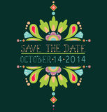 Floral save the date invitation card Royalty Free Stock Image