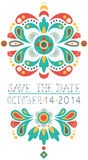 Floral save the date invitation card Royalty Free Stock Photography