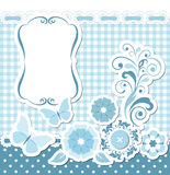 Floral scrapbook blue set Royalty Free Stock Photography