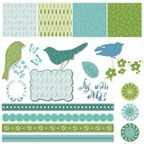 Floral Scrapbook Design Elements with Birds Stock Images