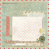 Floral Scrapbook layout with vintage embellishments Stock Image