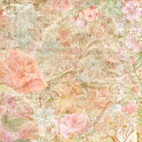 Floral scrapbook paper background. Old shabby paper background with flowers for scrapbook or other project Stock Photos