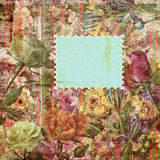 Floral scrapbook paper frame background Stock Photos