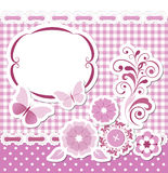 Floral scrapbook pink set Royalty Free Stock Photography
