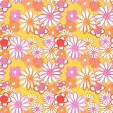 Pink, red and orange floral seamless pattern. Bohemian vintage pattern with daisy flowers in 60s and 70s style. Flower power. Floral seamles pattern in 60s - 70s vector illustration