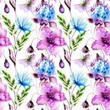 Floral seamles pattern. Watercolor illustration Stock Image