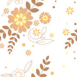 Floral seamless. Background with leaves and flowers stock illustration