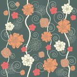 Floral seamless. Seamless with floral ornate on the grey background Royalty Free Stock Image