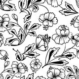 Floral seamless. Floral line art seamless pattern Royalty Free Stock Photos