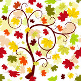 Floral seamless autumn pattern. With tree and colorful leaves Royalty Free Stock Photo
