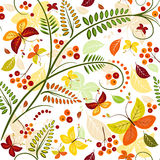 Floral seamless autumn pattern. With butterflies and colorful leaves Stock Photo
