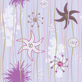 Floral seamless background. Repeating purple, pink and brown floral pattern Royalty Free Stock Images