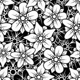 Floral seamless background. Floral black and white seamless background Royalty Free Stock Photos