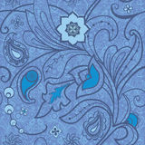 Floral seamless background. Flowers and paisley in blue Royalty Free Stock Photo