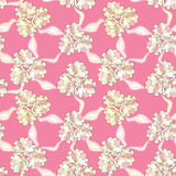 Floral seamless background. Abstract pink, beige and white floral geometric Seamless Texture Stock Photo