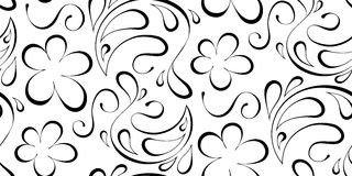 Floral seamless background. Black pattern on a white background Royalty Free Stock Image