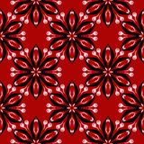 Floral seamless background. Black and white flower pattern on red. For wallpapers and textile design Royalty Free Stock Photos