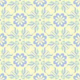 Floral seamless background. Blue and green flower pattern on beige backdrop. For wallpapers, textile and fabrics Stock Images