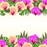 Floral seamless background bouquet with tropical flowers floral arrangement, with beautiful yellow and purple orchids, palm,phil vector illustration