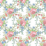 Floral seamless background. Decorative flower pattern. Royalty Free Stock Images
